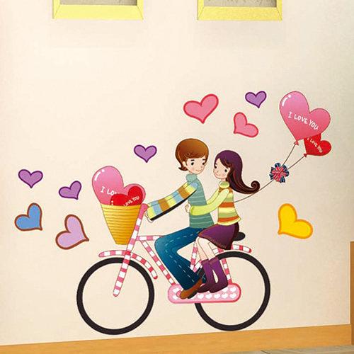 壁貼 單車戀人 創意壁貼 無痕壁貼 壁紙 牆貼 室內設計 裝潢 【YP1651】Loxin