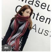圍巾 針織 併色雙色 流蘇 百搭  兩用披肩 保暖圍巾 長款【HJJ115】 BOBI  12/22