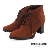 Tino Bellini 巴西進口斜口金屬綁帶高跟短靴 _ 棕 A79014A 歐洲進口款