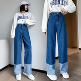 S-6XL大碼牛仔長褲~胖mm遮跨牛仔闊腿褲女高腰韓版撞色拼接直筒褲230斤1502.1F039愛尚布衣
