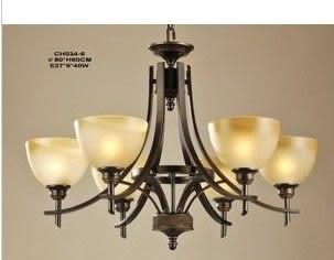 設計師美術精品館客廳6頭吊燈歐式鐵藝古典別墅簡約鐵藝燈飾