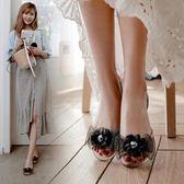 夏季新款韓版平底透明涼鞋女一字水晶塑膠學生蝴蝶結鞋子 MM116 『小美日記』