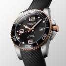 LONGINES 浪琴 深海征服者浪鬼陶瓷潛水機械錶-黑x玫瑰金/41mm(L37813589)