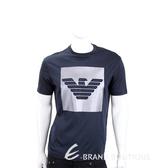 Emporio Armani EA 植絨老鷹標誌藏藍色短袖T恤(男款) 1920695-61