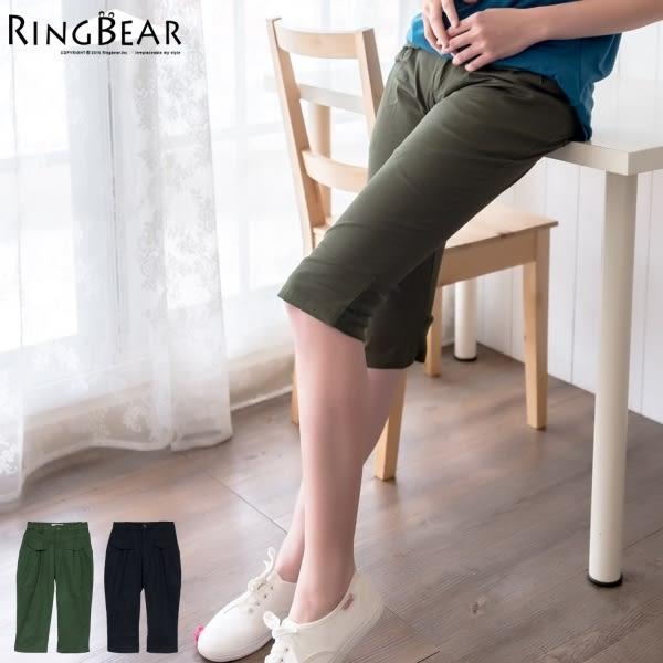 七分褲--裝飾雙袋蓋修飾小腹設計接羅紋下擺打摺七分褲(黑.綠S-5L)-S59眼圈熊中大尺碼◎