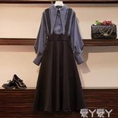 背帶裙秋冬新款大碼女裝網紅微胖MM時尚顯瘦減齡背帶裙收腰兩件套裝 新品