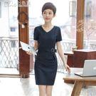西裝 條紋職業洋裝西裝正裝短袖前台工作服女夏裝「Chic七色堇」
