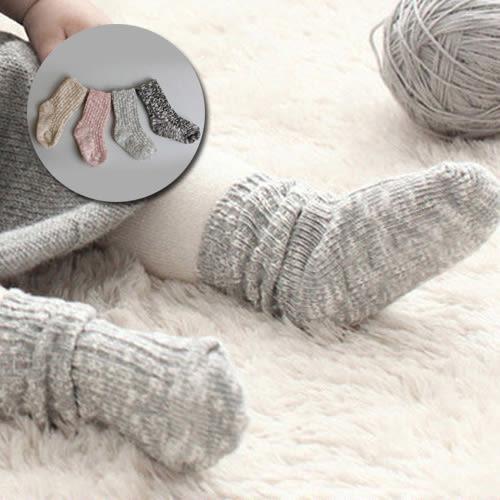 男女童寶寶毛線加厚保暖襪子。黑色 / 米黃 / 灰色 / 粉色