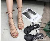 繫帶涼鞋 女夏季韓版復古學生軟妹平底休閒交叉綁帶羅馬鞋 coco衣巷