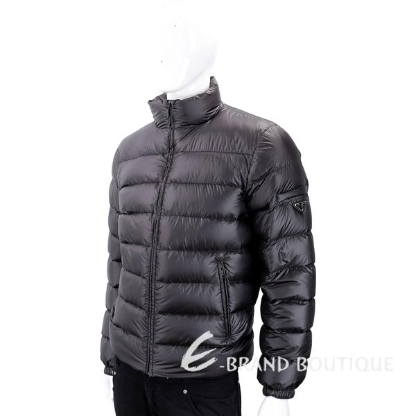 PRADA 三角牌撞色內裡黑色絎縫羽絨外套(男款) 1830445-01