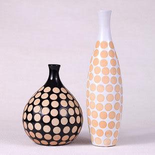 陶瓷鍍金工藝品擺件 家居裝飾 新房裝飾 黑白圓圈瓶二選一 單一價