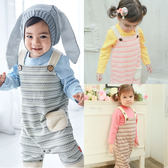 長袖套裝 素面包屁衣+圖騰吊帶褲 小馬刺繡 男寶寶 女寶寶 2件組 Augelute Baby 47042