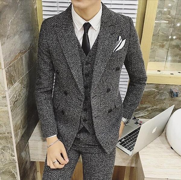 找到自己品牌 韓國男 芝麻點 雙排扣 小西裝 修身西裝 西裝外套 單件外套