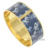 茱麗葉精品【專櫃款 全新現貨】COACH 91414 滿版馬車LOGO造型寬版手環.藍/金