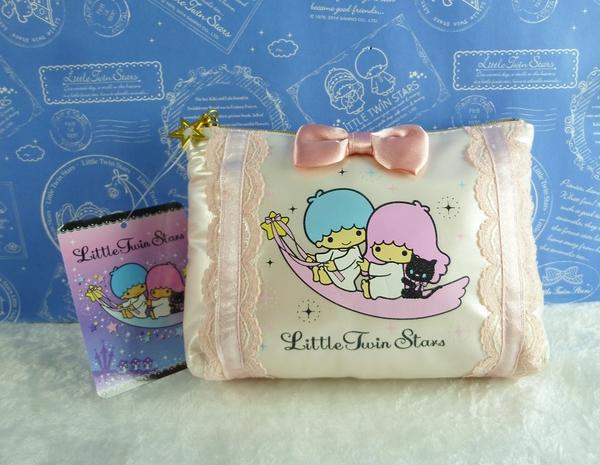 【震撼精品百貨】Little Twin Stars KiKi&LaLa 雙子星小天使~化妝包_粉蝴蝶結