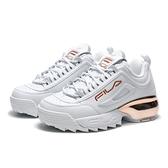 FILA 版型偏小 休閒鞋 DISRUPTOR 2A 白 玫瑰金 皮革 復古 老爹鞋 女 (布魯克林) 4C113V155