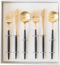 Cutipol【日本代購】葡萄牙 GOA系列餐具 黑/金晚餐6件套