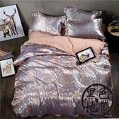 歐式貢緞提花四件套水洗棉床單1.8米2.0米被套2米×2.3米婚慶床品【黑色地帶】