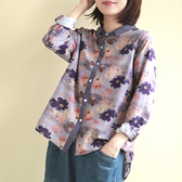 棉麻襯衫 花朵圖案長袖襯衫 拼色單排扣上衣-夢想家-0214