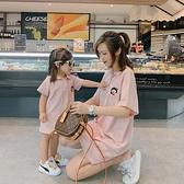 親子裝親子裝一家三口短袖polo衫裙母女裝夏季新款親子連身裙洋氣t恤裙 貝芙莉