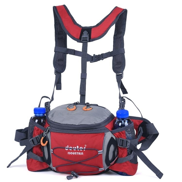 腰包 運動腰包戶外男多功能騎行背包防水雙肩旅游女水壺腰包登山