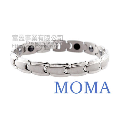 【MOMA】白鋼鍺磁手鍊-子彈寬版