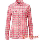【wildland 荒野】女 彈性抗UV格子長袖襯衫『玫瑰紅』0A81201 戶外 休閒 運動 防曬 露營 登山 騎車