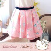 褲裙 Hello Kitty x Ruby 聯名款-滿版碎花印花褲裙附腰帶-Ruby s 露比午茶