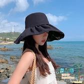 漁夫帽 黑膠防曬遮陽帽子女夏季時尚薄款遮臉防紫外線太陽帽UV漁夫帽春秋【風之海】