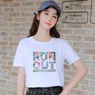 【GZ45】010#(純棉)超火cec t恤女短袖寬鬆韓範夏季新款時尚印花