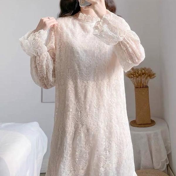 蕾絲洋裝 仙女裙半高領顯瘦2021秋冬新款蕾絲連衣裙長袖中長款打底加絨加厚 歐歐