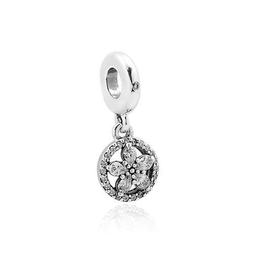 Pandora 潘朵拉 璀璨圓形雪花 垂墜純銀墜飾 799222C01