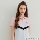 【GIORDANO】女裝粉色拼接彈性萊卡POLO衫 - 01 粉色粉筆