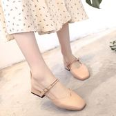 涼鞋女夏新款奶奶鞋中跟仙女復古方頭一字扣帶包頭粗跟涼鞋潮 依夏嚴選
