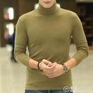 純棉男士加厚高領打底衫 修身長袖t恤男緊身秋衣外穿堆領簡約秋季 電購3C