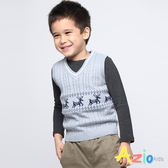 Azio Kids 男童 背心 麻花針織麋鹿圖騰背心 (灰) Azio Kids 美國派 童裝