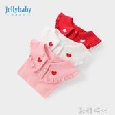女童打底衫3歲女兒童T恤純棉秋裝嬰兒娃娃領上衣春秋寶寶長袖薄款 欧韩时代