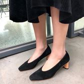 真皮鞋 小方頭 森女系 羊皮 粗跟 透氣 中跟鞋/3色-標準碼-夢想家-0122