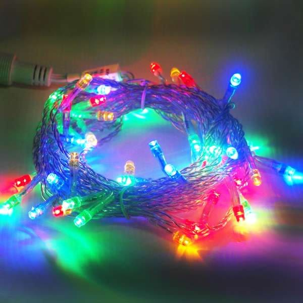聖誕燈50燈LED樹燈串 (四彩光透明線)(附控制器跳機)(高亮度又省電)