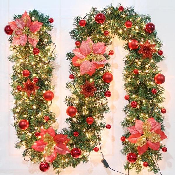 莘蝶 聖誕藤條2.7米加密豪華擺件聖誕樹節裝飾品金紅色花環套餐 聖誕節全館免運
