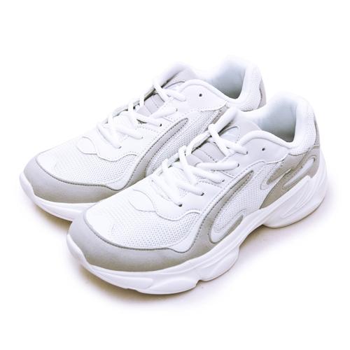 LIKA夢 ARNOR 輕量時尚緩震厚底慢跑鞋 GOGORUN系列 白灰 03188 男