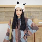 月子帽秋冬可愛保暖帽子針織毛線帽女冬季鹿角加絨加厚孕婦月子產後【全館免運快速出貨】