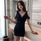 洋裝 小禮服 夜 店性感低胸V領顯瘦按摩足浴技師工作服養生會所吊帶漏肩連身裙 韓風