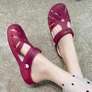 果凍涼鞋 洞洞鞋女夏季果凍涼鞋女韓版時尚平底防滑沙灘鞋新款甜美學生拖鞋 曼慕衣櫃