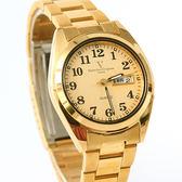 范倫鐵諾Valentino 經典金色不鏽鋼手錶 日期窗.星期窗.黑色數字 柒彩年代【NE1850】單支售價