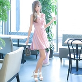 洋裝-無袖夏季V領荷葉邊雪紡女連身裙73nj48[巴黎精品]