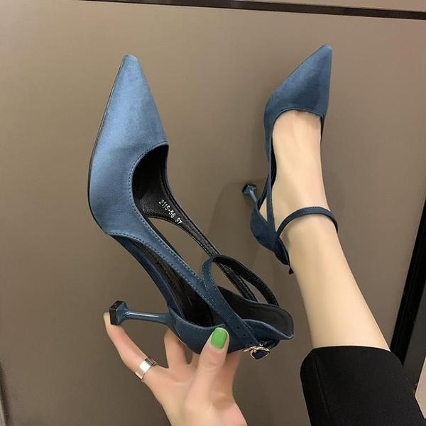 快速出貨 涼鞋女仙女風 時尚性感一字扣帶休閒百搭包頭高跟鞋細跟