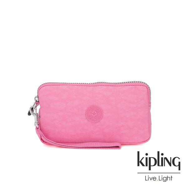 Kipling 甜美糖果粉多卡層拉鍊長夾-BERNARD