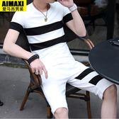 男士短袖T恤韓版潮流休閒帥氣衣服一套男裝    琉璃美衣