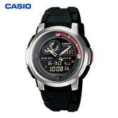 CASIO 溫度測量膠帶指針數位雙顯電子錶 黑紅 AQF-102W-1B 學生錶 當兵軍用錶 工作錶 公司貨保固1年